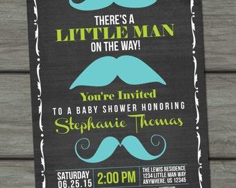 Mustache Baby Shower Invitation, Little Man Baby Shower Invitation, Chalkboard Baby Shower Invitation, Baby Shower Invitation, Mustache