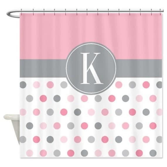 polka dot shower curtain monogram. Black Bedroom Furniture Sets. Home Design Ideas