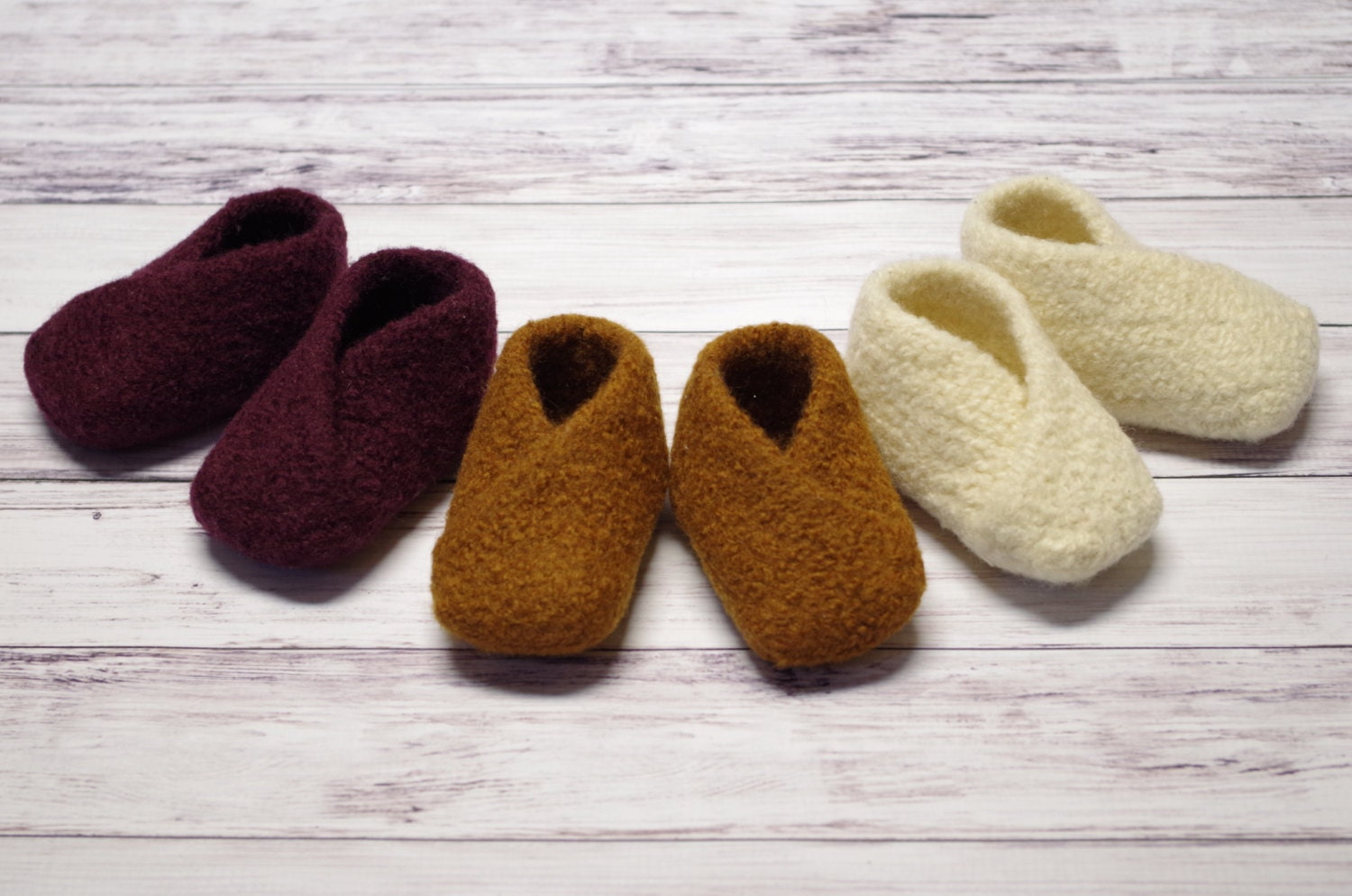 Knitting Pattern Felted Baby Booties : Organic Felted Baby Booties: Hand Knit & Felted Organic Wool