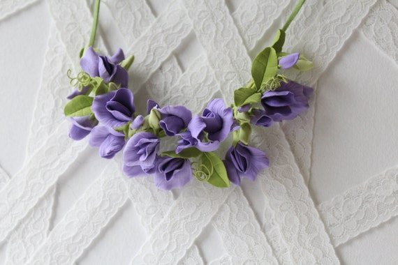 Make to order.  Sweet pea, pale purple. Three in one: corsage, necklace or headband.   polymer clay flower.