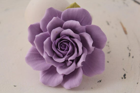 Hair clip polymer clay flower. lilac rose