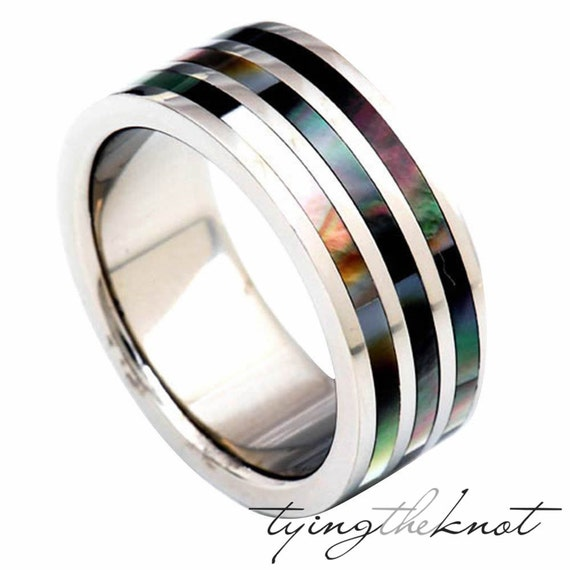 ... Inlay Pipe Cut Comfort Fit Mans Wedding Band - 9mm Ring Size 8 - 13