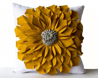 Felt Flower Pillow Cover -Mustard Gray White Pillow Case -Floral Decorative Pillow -Gift -20x20 -Hostess Gift -Mothers Day -Birthday Gifts