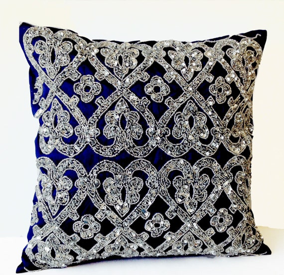 Beaded Grey Throw Pillow : Navy Blue Geometric Throw Pillows Beaded Silver Bead Pillow