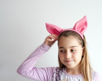 Pig Ears Headband, Pink Animal Ears Head Band, Children's or Adult's Photo Prop, Piglet Cosplay, Pretend Play, Winnie–the–Pooh