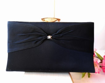 Black Evening Bag,Vintage Evening Bag, Black Clutch Bag, Rhinestone Trim,  Clutch Handbag, Black Handbag EB-0438