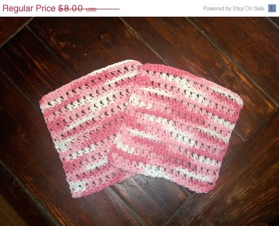 Closing Sale Pink Crochet Washcloth Set - Eco Friendly Cotton Wash Cloth - Set of 2