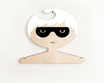 Super hero boy - wooden clothes hanger