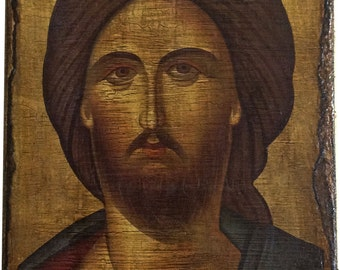 Jesus Christ - Bust - Orthodox Byzantine icon on wood handmade (26.5cm x 17.5cm)