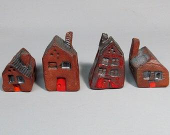4 Little Ceramic Houses, Fairy, Garden, Gifts