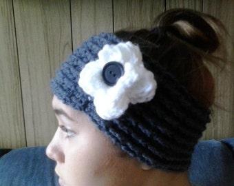 Crochet ear warmer, charcoal with white flower