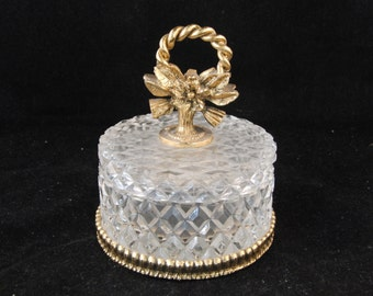 Vintage brass and glass decorated jewelry box