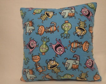 Pillow Cover, Decorative Pillow Cover, Throw pillow Cover,  16 x 16 Pillow Cover, Childs Pillow Covers, Little Monsters Pillow Cover,
