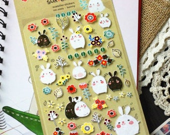 Lovely Rabbit Paper Sticker  - 1 Sheet