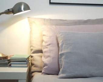 Linen pillowcases - linen bedding, natural, dusty pink, light gray pillowcase, pillow cover