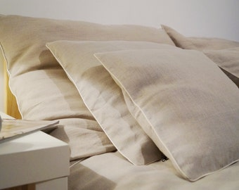 Linen bedding Queen Size duvet cover and 4 pillow cases ,natural,  washed linen