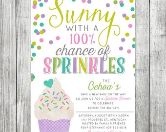 Sprinkle Baby Shower Invite - Sunny with 100% Chance of Sprinkles -  Baby Shower Invitation- 5x7JPG