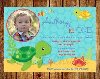 Turtle Under the Sea Photo Birthday Invitation for Boys- Digital File - DIY Printable Turtle Photo Invitation 1st, 2nd, 3rd, 4th, 5th, 6th