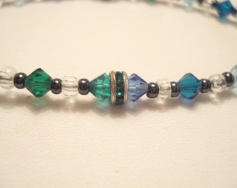 Petite Vintage Blue & Green Faceted Crystal Bracelet With Sterling Fittings