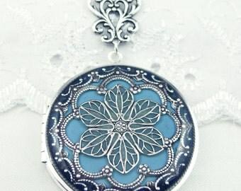 Light Blue Filigree Locket, Blue Silver Filigree Flower Locket Vintage Locket Photo Locket,ValentineGift For Her