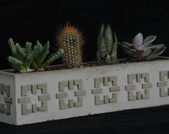 Cement Planter, Textile Block #4, Long