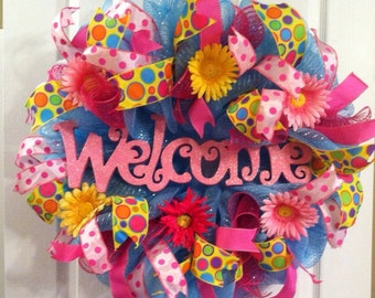 Summer Mesh Wreath/ Wreath SALE/ Spring Mesh Wreath/ Welcome Deco Mesh Wreath/ Flower Summer Wreath/ Front Door Wreath/ Summer Door Decor