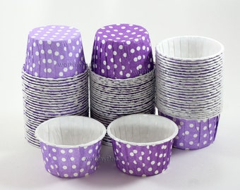 LAVENDER PURPLE Polka Dots Candy Nut Portion Cups- Greaseproof Cupcake/Muffin Baking Cups (24 Count)