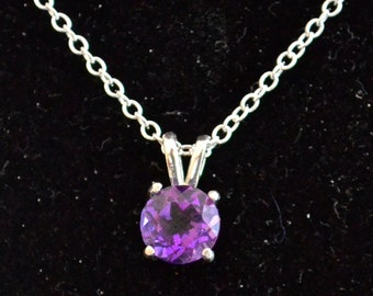 Amethyst Pendant/Necklace, 7mm Roundl, Natural, Set in Sterling Silver    P477