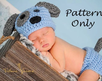 Crochet PATTERN - Puppy dog hat and diaper cover,  Photo Prop Set -Instant Download PDF 100 - Photography Prop Pattern