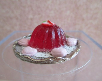 Strawberry Jell-O with Pink Heart Cookies Dessert - Dollhouse Miniatures Valentine's Day Dessert