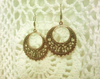 Alia Filigree Earrings Antique Bronze Henna Mehndi Vintage Style Yoga Jewelry Bohemian Boho