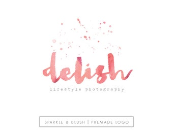 Premade Photography Logo - Etsy Shop Logo - Painted Thick Brush Lettered Typography Gold Foil Paint Splatters Splotches Logo Design (e855)