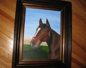 "ANTIQUE EASTLAKE SHADOWBOX Frame With Horse Painting 17 1/4"" x 21 1/4"" Out  By 12 3/4"" x 16 1/2"" Inside Dark Wood With Gold Inside Border"