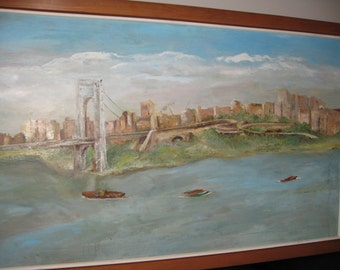 """ORIGINAL OIL PAINTING On Canvas Large Cityscape Featuring Bridge, Water Custom Wood Frame 28"""" x 44"""" Local Pick Up Due To Size 13856 Zip Code"""