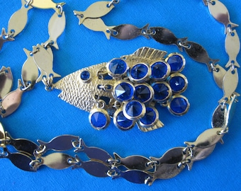 """ARTICULATED  FISH Necklace With Blue Crystal """"Scales"""""""