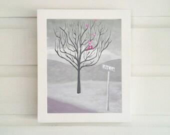 Pink Love Birds - Love Lane - Love Art Print - Love Wall Art - Love Birds Print - Love Art