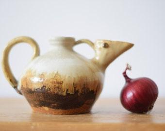 Vintage Danish - bird pitcher vase - Art Pottery - signed Porsmose Logstor - midcentury