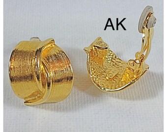 Gold Anne Klein Vintage Earrings, Clip on Earrings, Designer Earrings