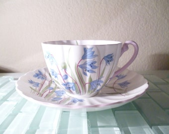 Shelley SCILLA Dainty Blue Flower Teacup and Saucer