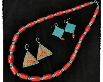 OOAK Coral and Turquoise Necklace Set