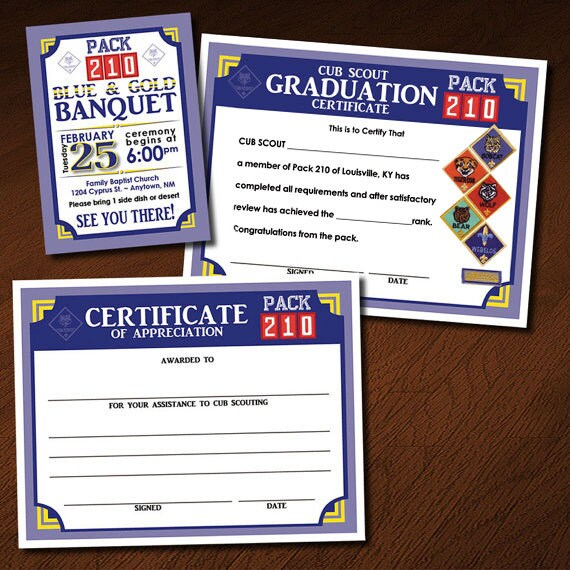 cub scout blue and gold program template - custom cub scout blue gold or graduation invitation
