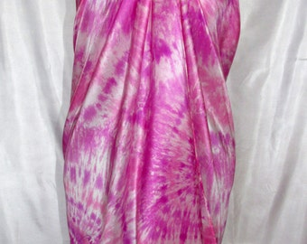 Pure Silk Sarong - Beach Cover Up, Pink Shawl Wrap– Hand Painted.