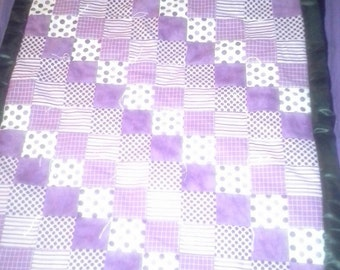 Baby Girl's Hand-stitched Quilt, Purple