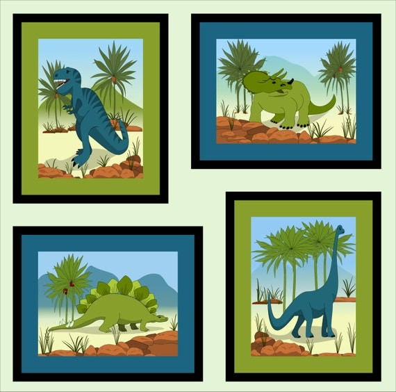 Kids dinosaur art canvas dinosaur wall by imaginethatoriginals for Canvas prints childrens bedrooms