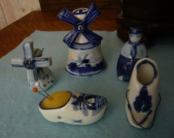Blue Delft Miniatures Windmills, Pin Cushion Shoe, Boy, Coal Scuttle