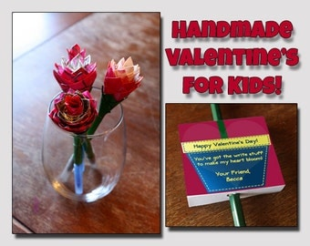 10 Valentine's Day Cards and Duct Tape Flower Pens, Valentines Day Card, Valentines Day Gift, Valentines Day Favor,