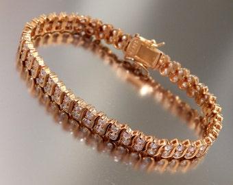 Vintage Sterling Silver Vermeil Tennis Bracelet,  DBJ 925 Vermeil Bracelet, Gold Plate over Sterling Silver CZ Bracelet, Tennis Bracelet