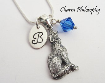 Howling Wolf Pendant - Werewolf Necklace - 925 Sterling Silver Jewelry - Monogram Initial and Birthstone - 35mm