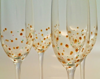 Hand Painted Champagne Flutes, set of 4