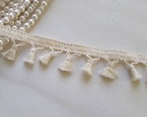 3 Yards - Cute Ivory Cotton Tassel Trim Supply for scarf, cape, clothing, bag, pillow edging, curtain, home decor